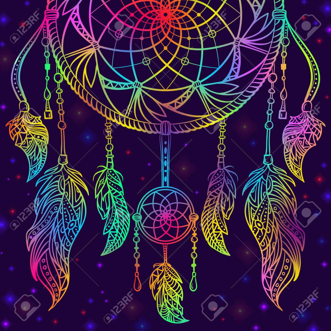 - Colorful Dream Catcher With Ornament And Night Sky With Stars