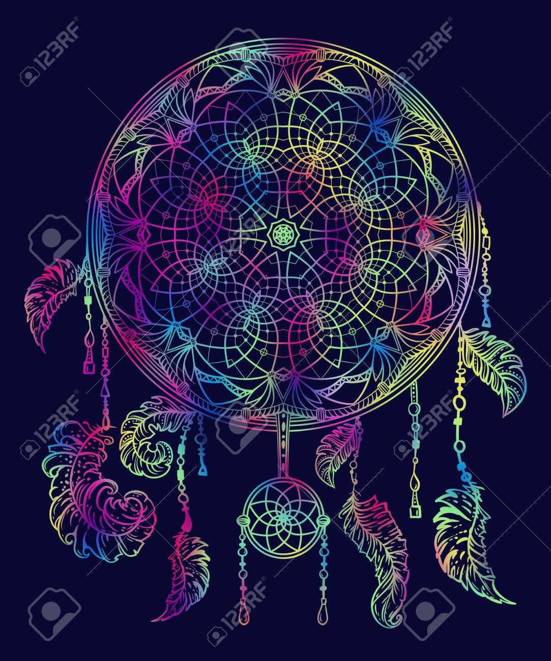 - Colorful Dream Catcher With Ornament And Feathers. Design Concept
