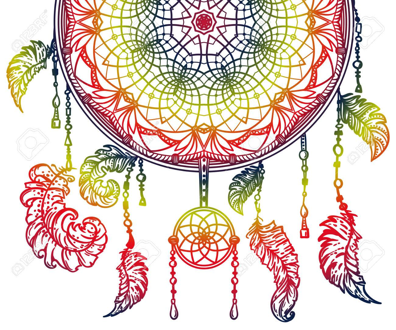 picture regarding Legend of the Dreamcatcher Printable referred to as Vibrant desire catcher with ornament and feathers. Style thought..