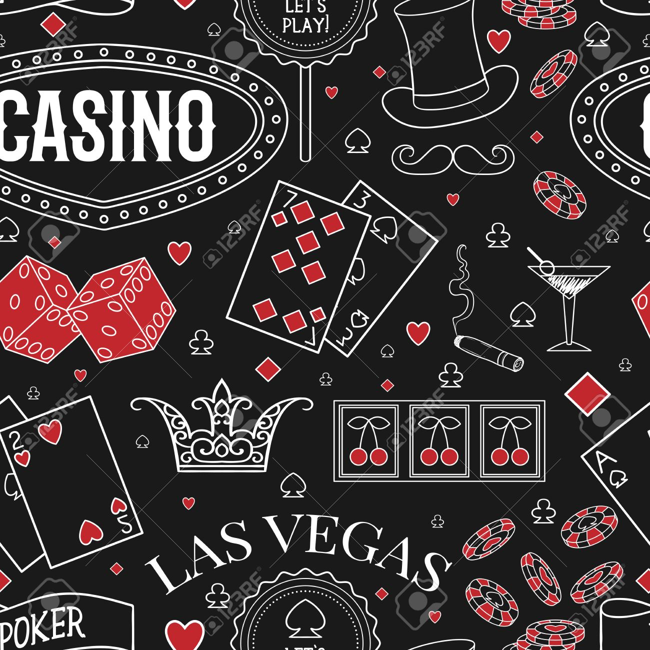 casino theme seamless pattern with decorative elements on chalkboard gambling symbols vintage vector