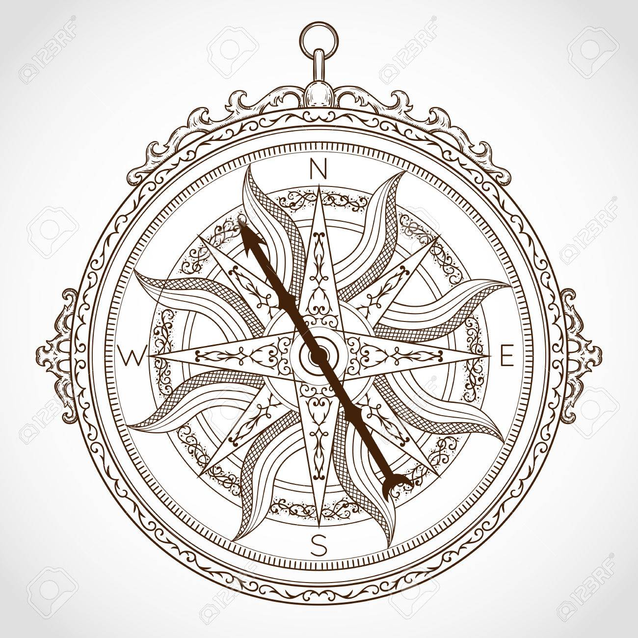 Vintage Compass On White Background Isolated Element In Line