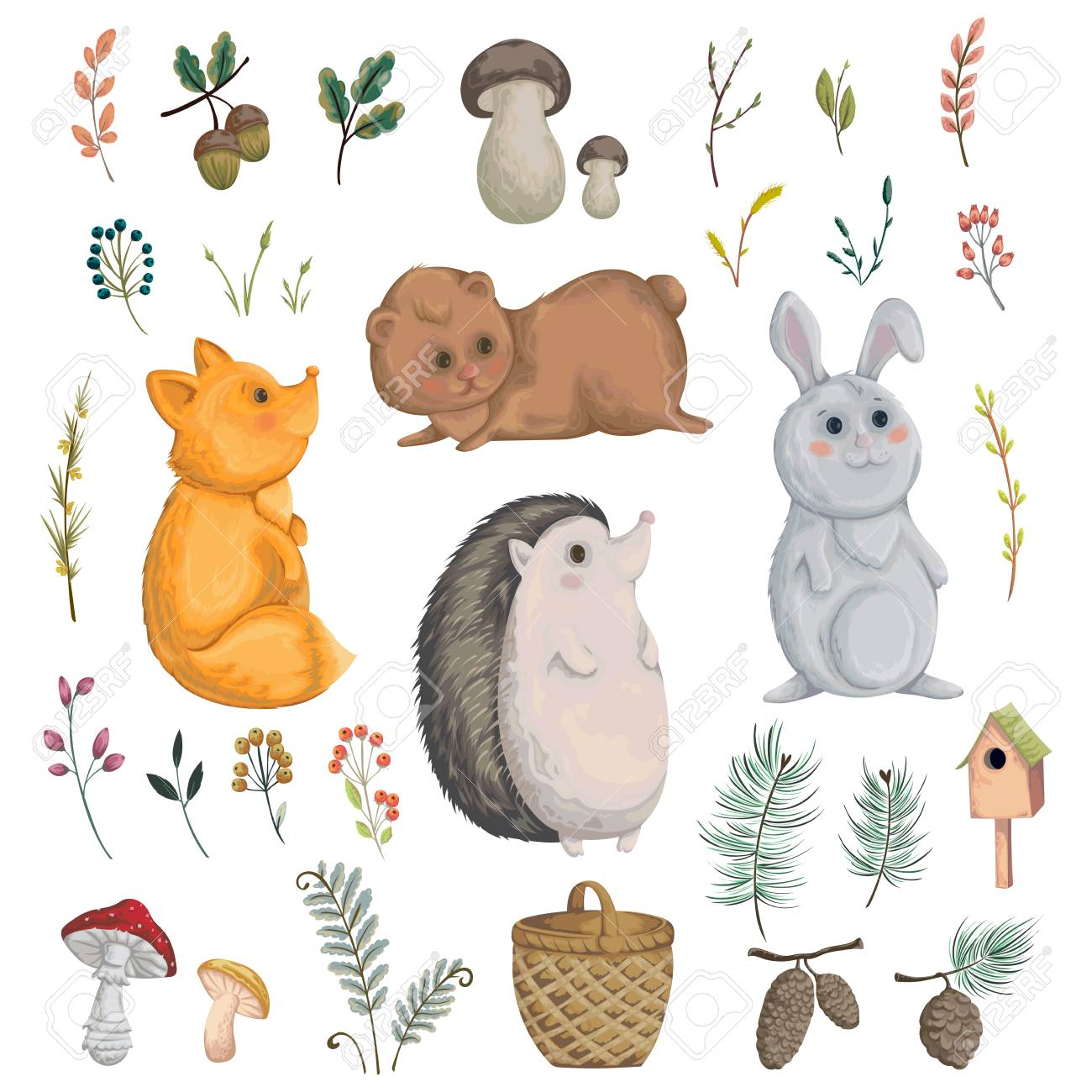 Collection of forest animals, mushroom, plant, berry, cones. Decorative elements in watercolor style for greeting card, invitation, baby shower party. Cartoon characters. Vector illustration. - 85327660