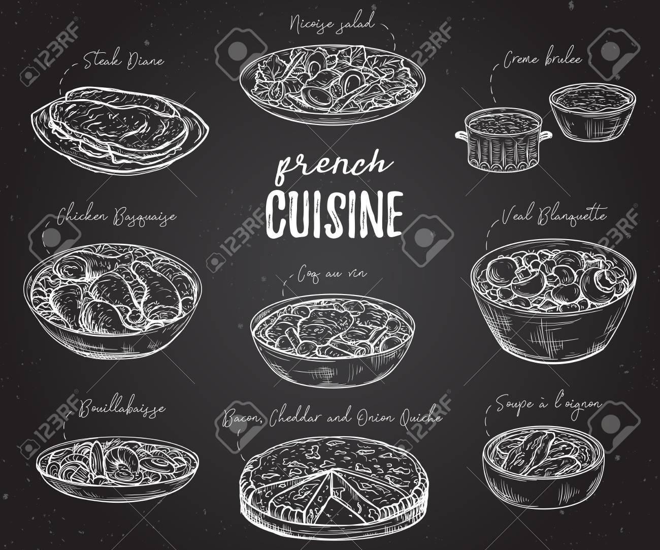 Cocina Francés. Colección De Comida Deliciosa En La Pizarra ...