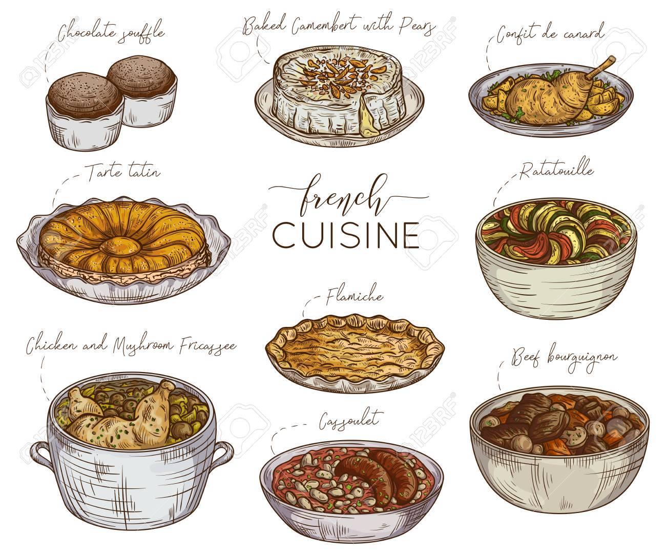Cocina Francés. Colección De Comida Deliciosa. Elementos Aislados ...