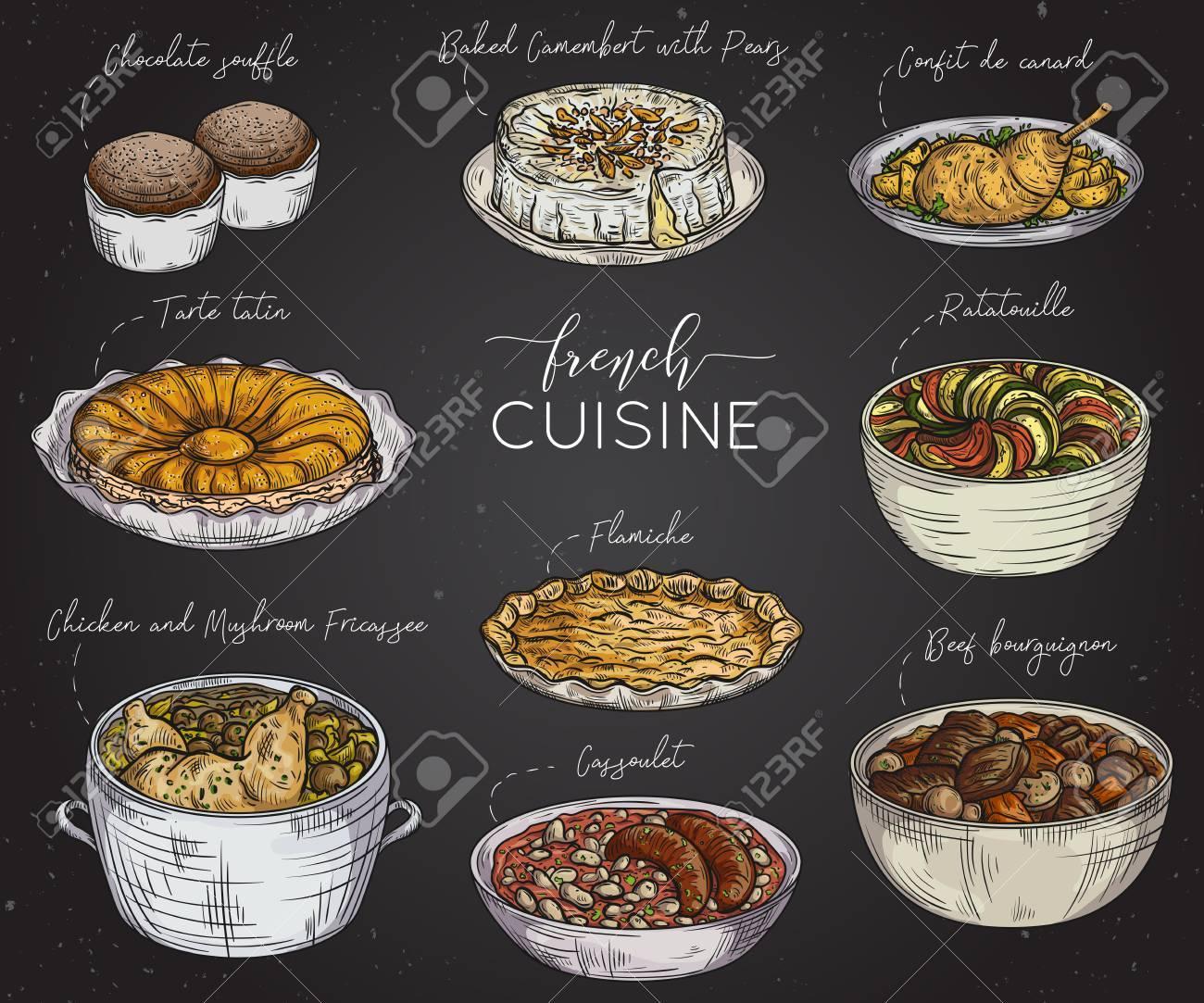 Tableau Noir Deco Pour Cuisine cuisine française. collection de nourriture délicieuse sur tableau noir.  Éléments isolés concept design pour les restaurants de décoration, menu.