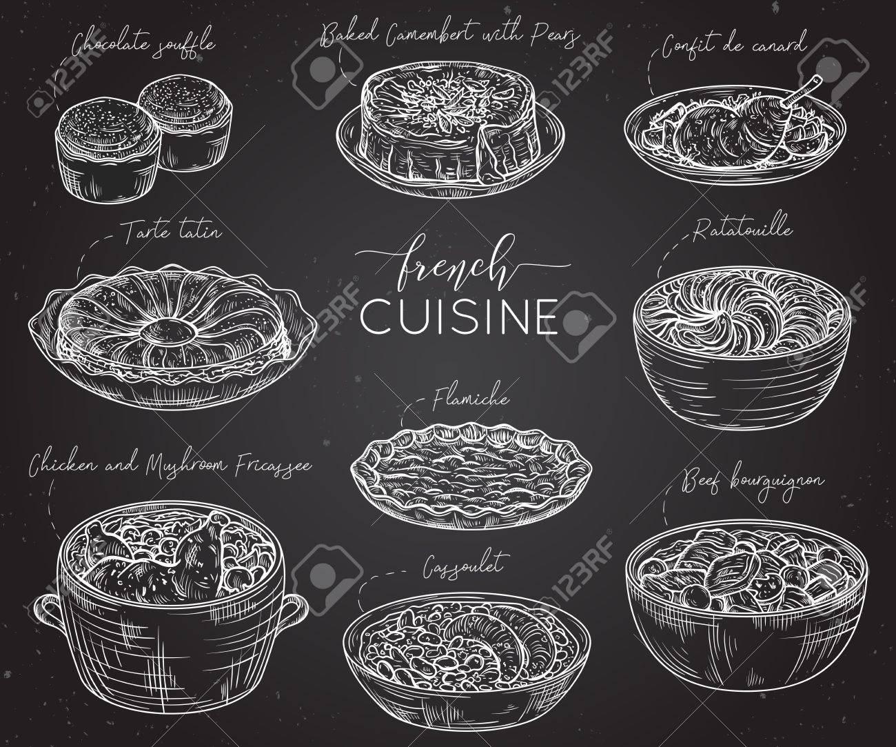 Cuisine française. Collection de nourriture délicieuse sur tableau noir.  Éléments isolés Concept design pour les restaurants de décoration, menu.