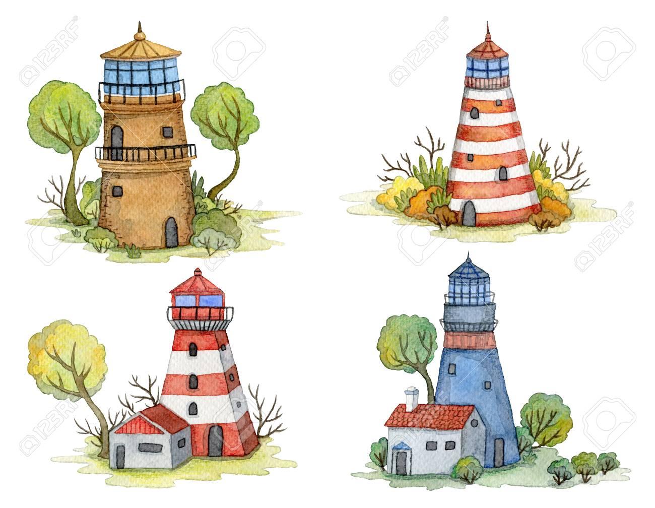 Faros De Acuarela De Dibujos Animados Con árboles Y Plantas Paisaje De Cuento De Hadas Concepto De Diseño Vintage Para Imprimir O Cartel