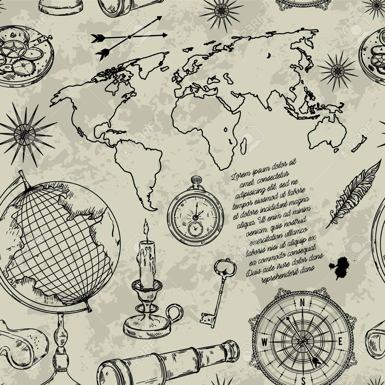 Pattern with globe compass world map and wind rose vintage pattern with globe compass world map and wind rose vintage science objects set gumiabroncs Gallery