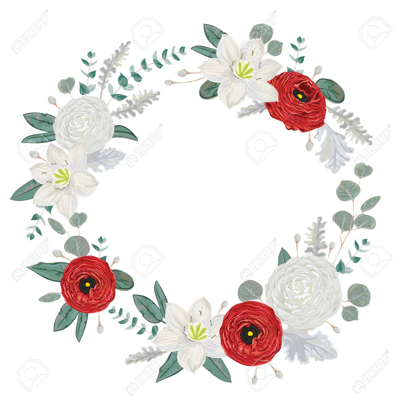Decorative Holiday Wreath With Flowers Leaves And Branches Royalty Free Cliparts Vectors And Stock Illustration Image 94934163