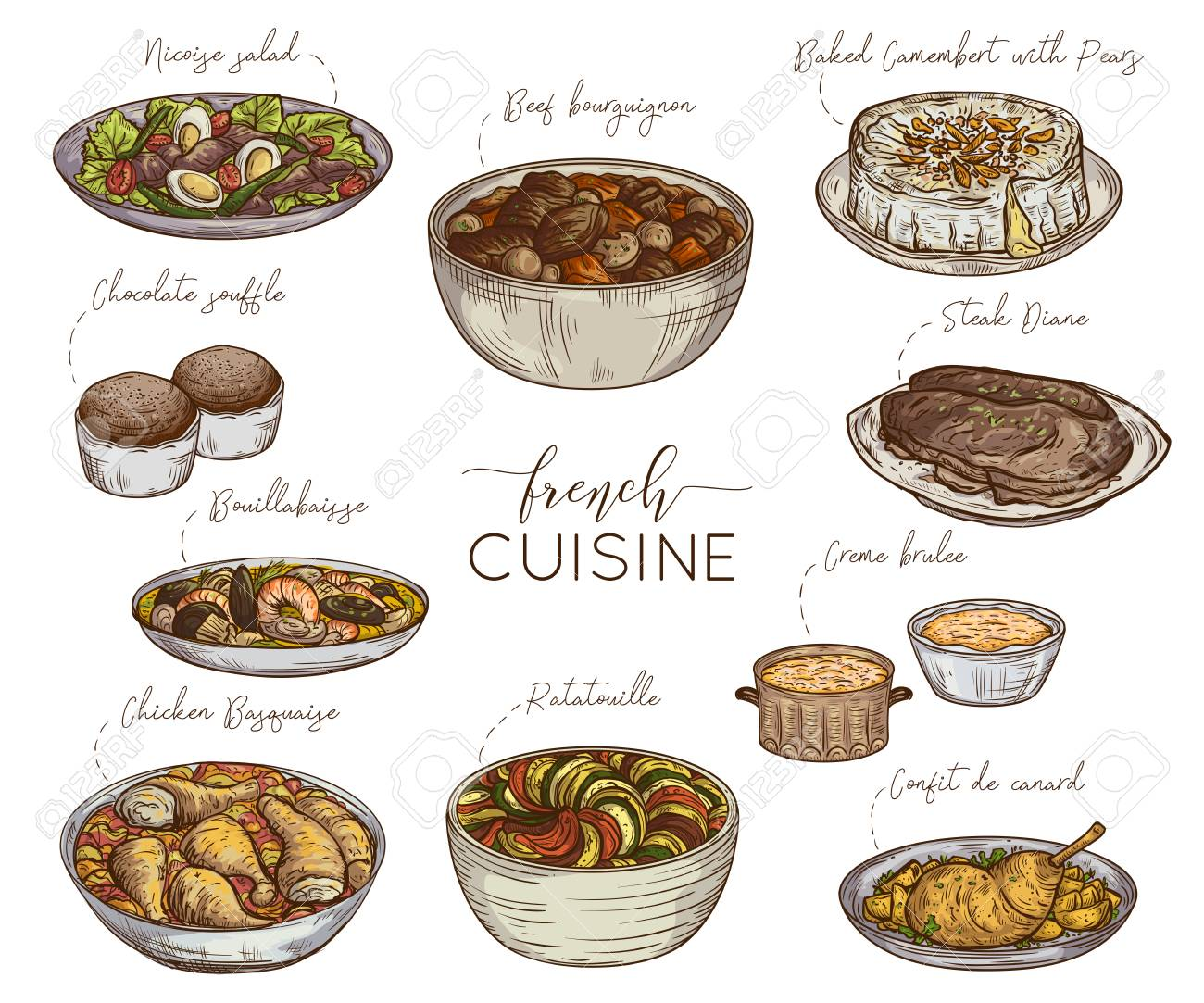French Cuisine Collection Of Delicious Food Isolated Elements