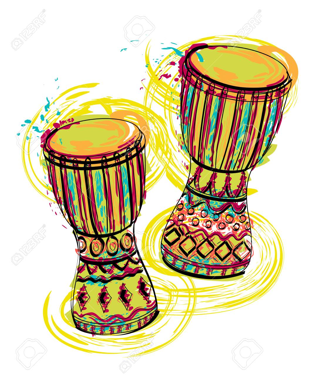 Drums tam tam with splashes in watercolor style. Colorful hand drawn vector illustration - 96335636