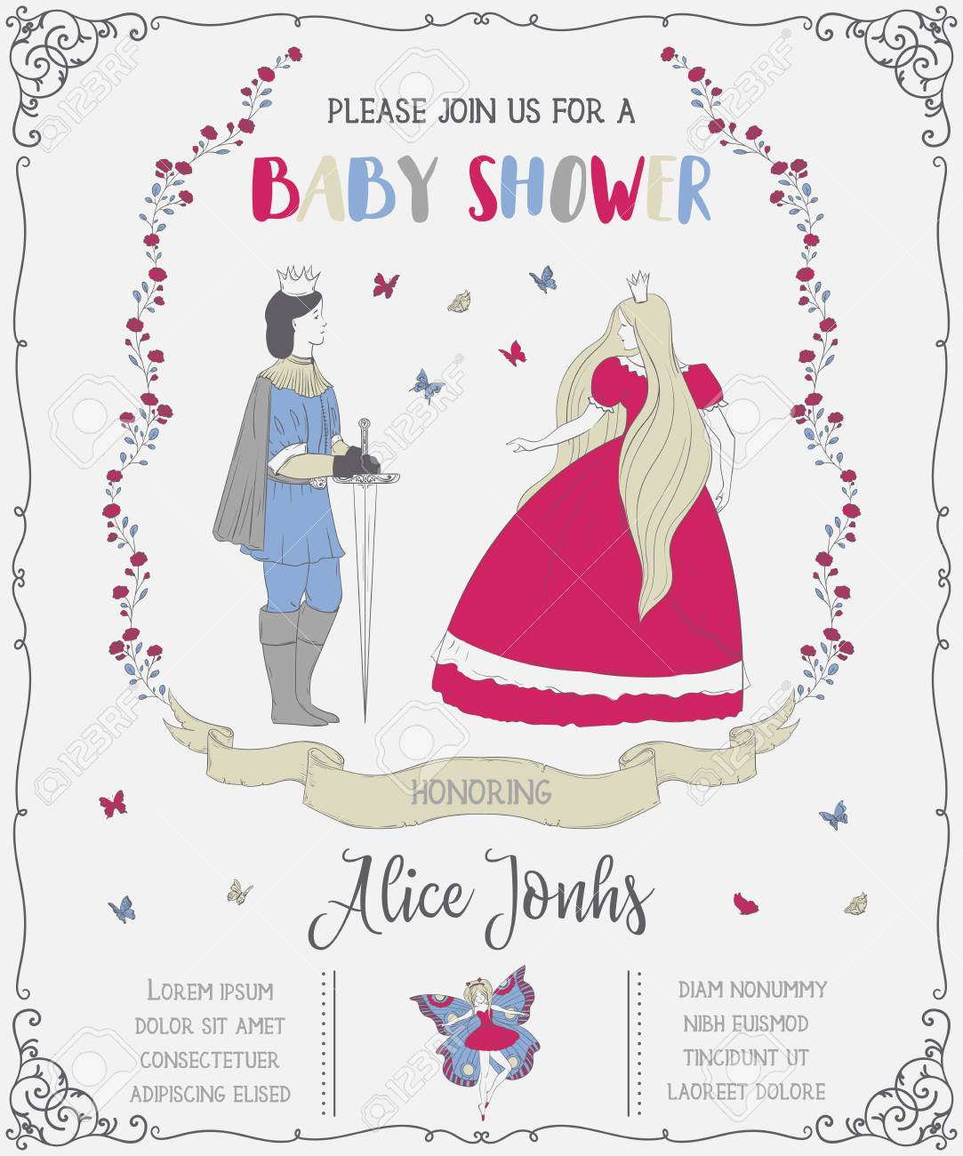 Baby shower invitation with prince princess fairy roses and baby shower invitation with prince princess fairy roses and butterflies fairy tale filmwisefo