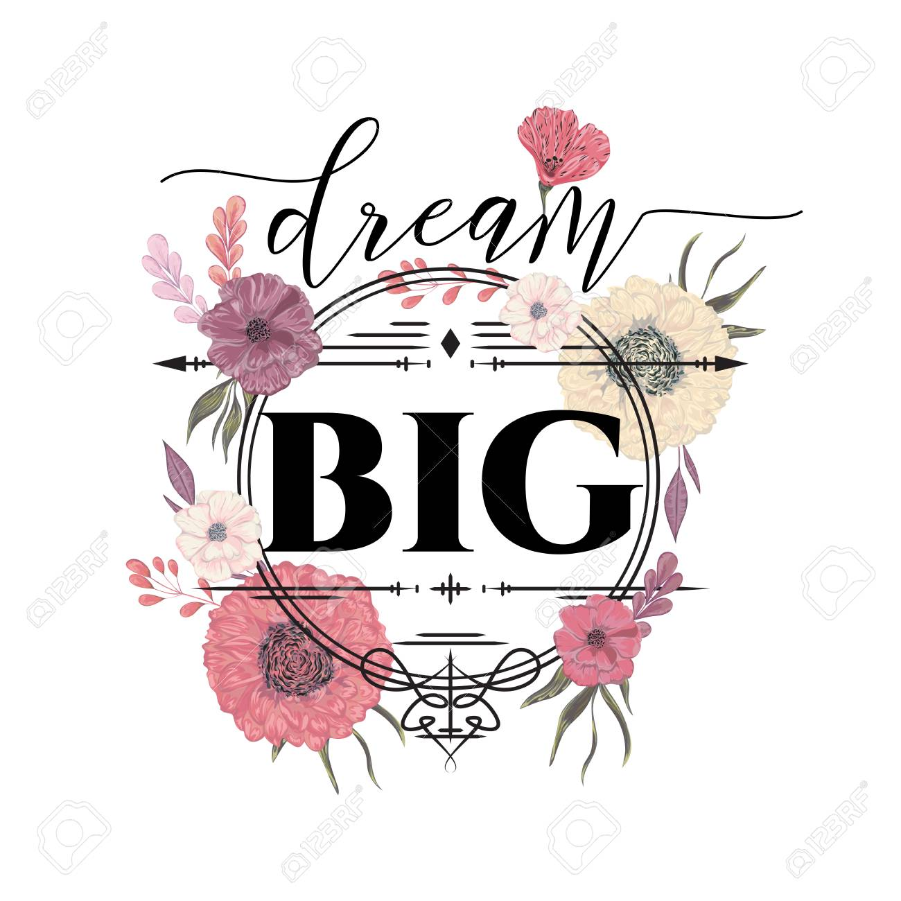 Creative Typography Poster With Flowers In Watercolor Style Inspirational Quote Big Dream Concept