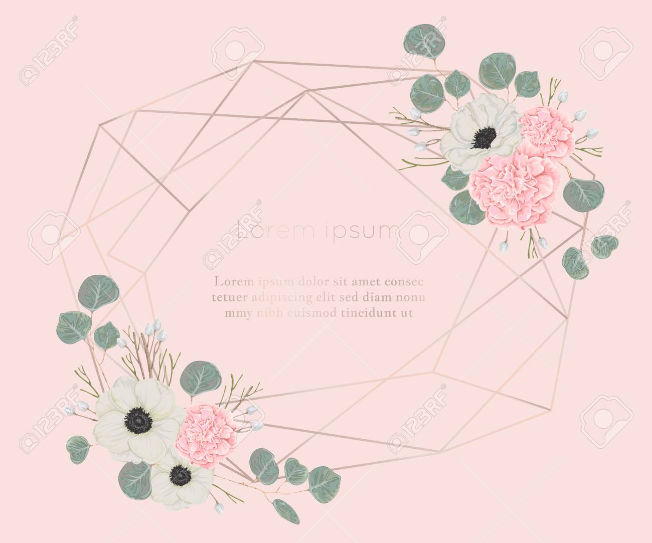 Rose Gold Polygonal Frame With Floral Elements In Watercolor