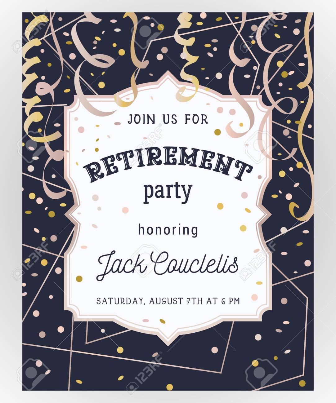 Retirement party invitation design template with rose gold vector illustration retirement party invitation design template with rose gold polygonal frame confetti and serpentine stopboris Images
