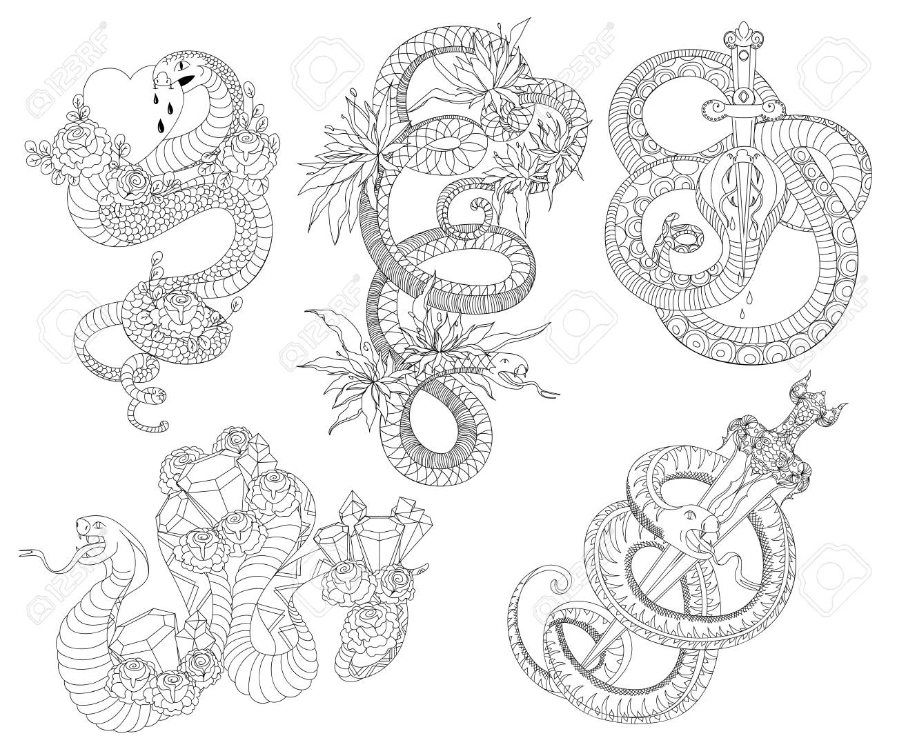 Old school tattoo design black and white isolated elements vector illustration