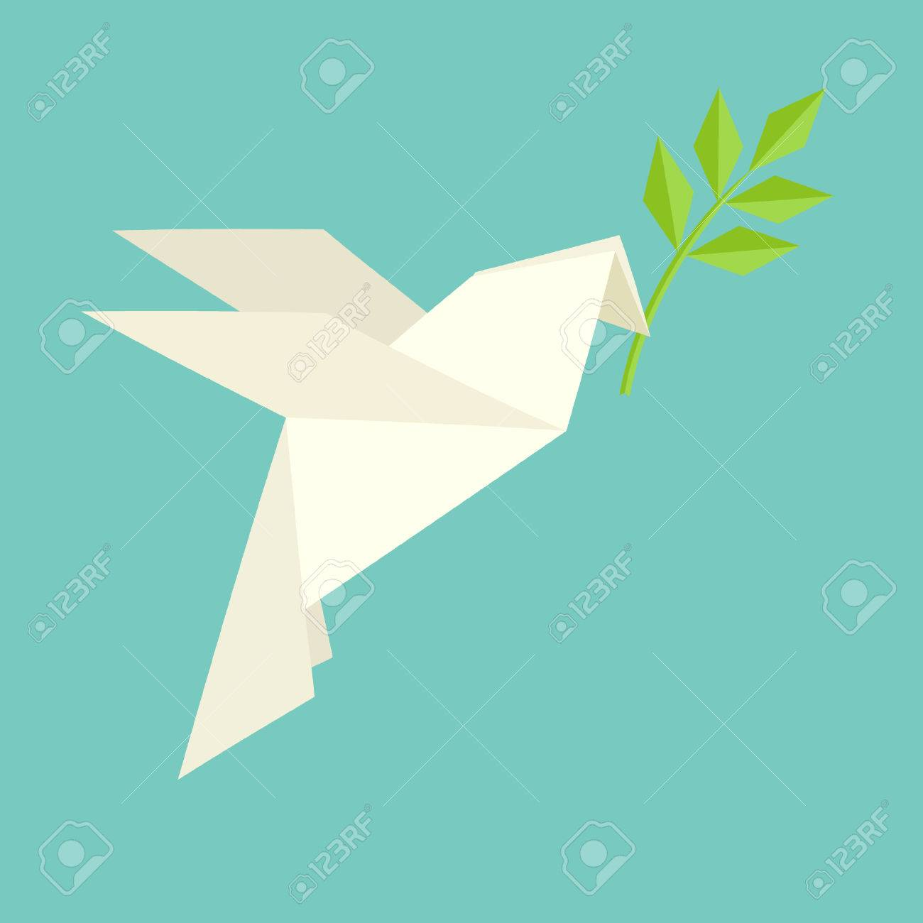 Origami Dove Flies And Carries A TwigInternational Day Of Peace Vector Illustration