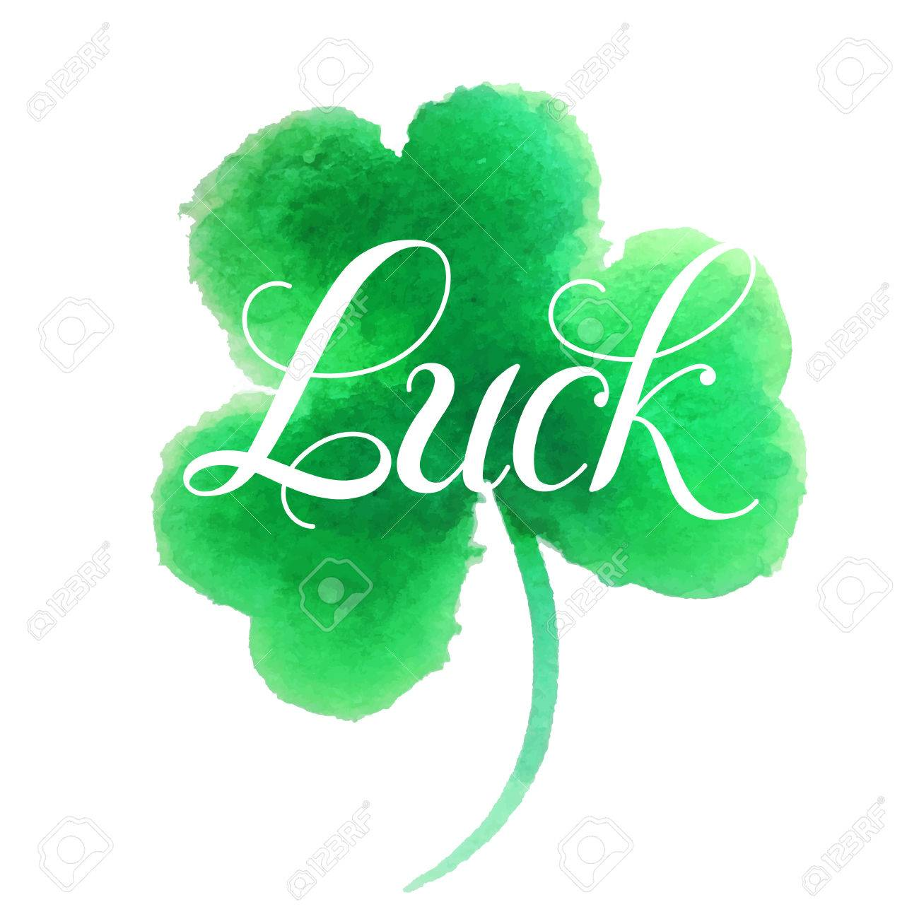 Good LuckHand LetteringGood Luck Four Leaf CloverClover Painted In Watercolor