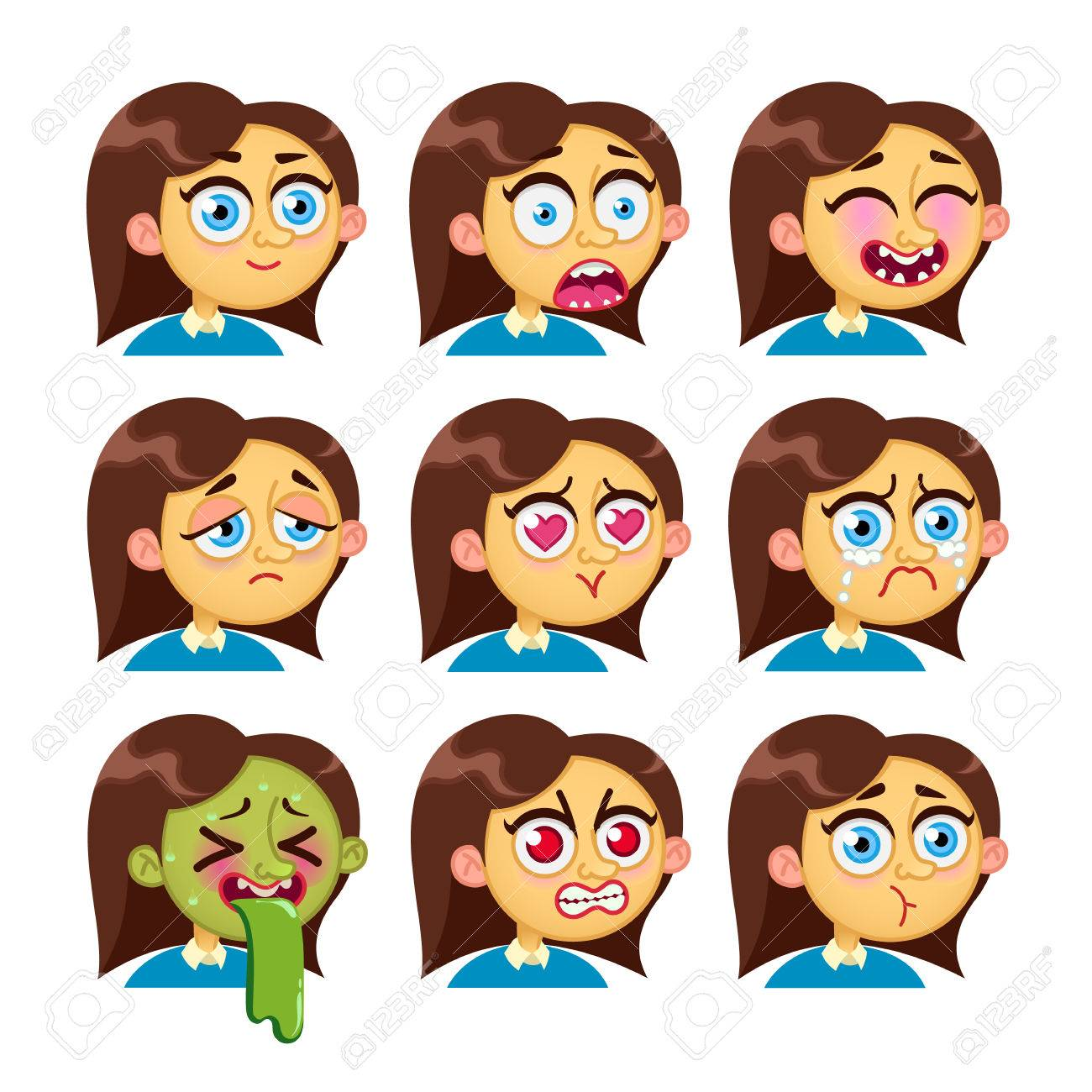 Cartoon characters girl emotion faces woman emoji face icons girl emotion faces woman emoji face icons and symbols human expression biocorpaavc