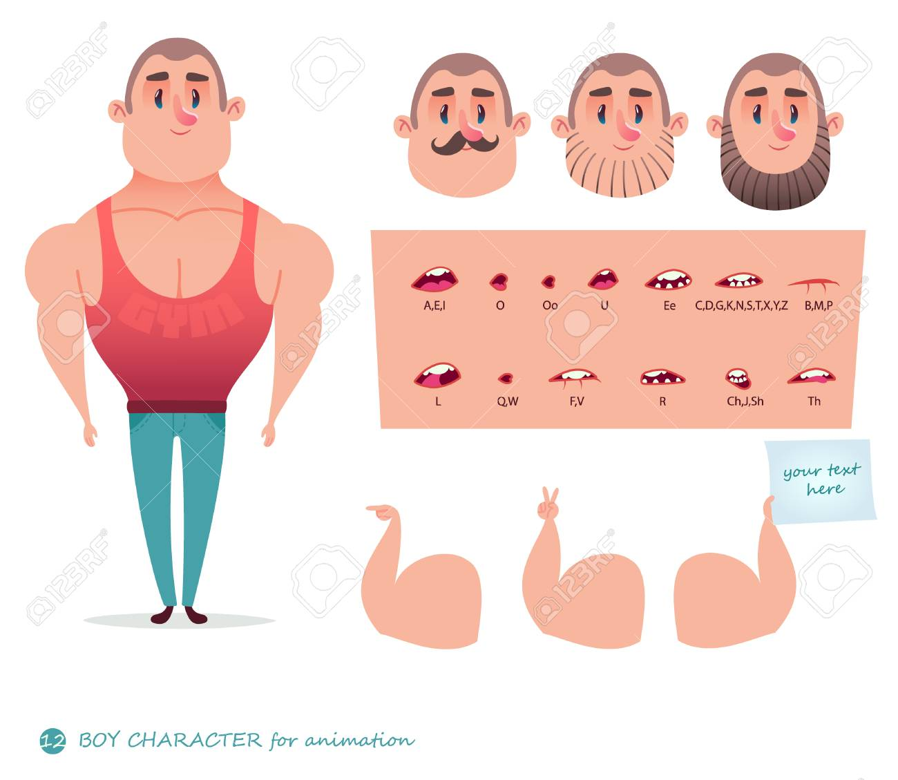 man character for your scenes parts of body template for design