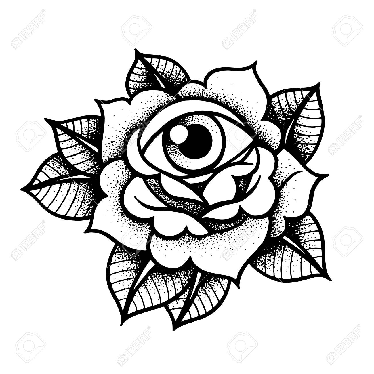 39787921672c5 Old School Rose Tattoo With Eye. Royalty Free Cliparts, Vectors, And ...