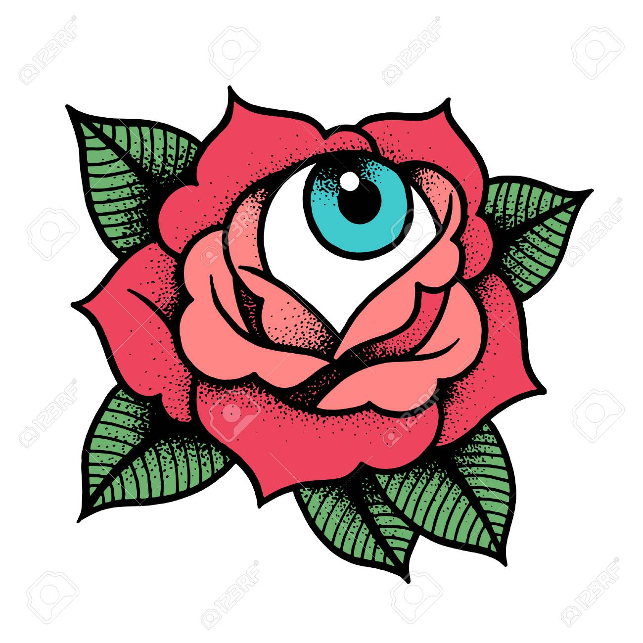 Old School Rose Tattoo With Eye Traditional Black Dot Style