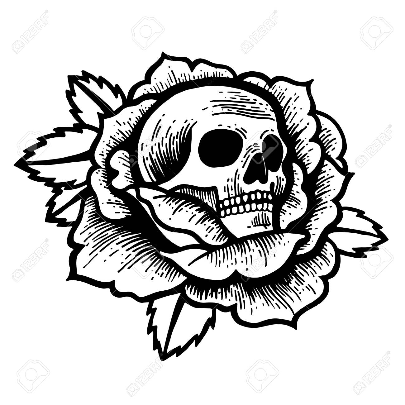 Old School Rose Tattoo With Skull Traditional Black Dot Style