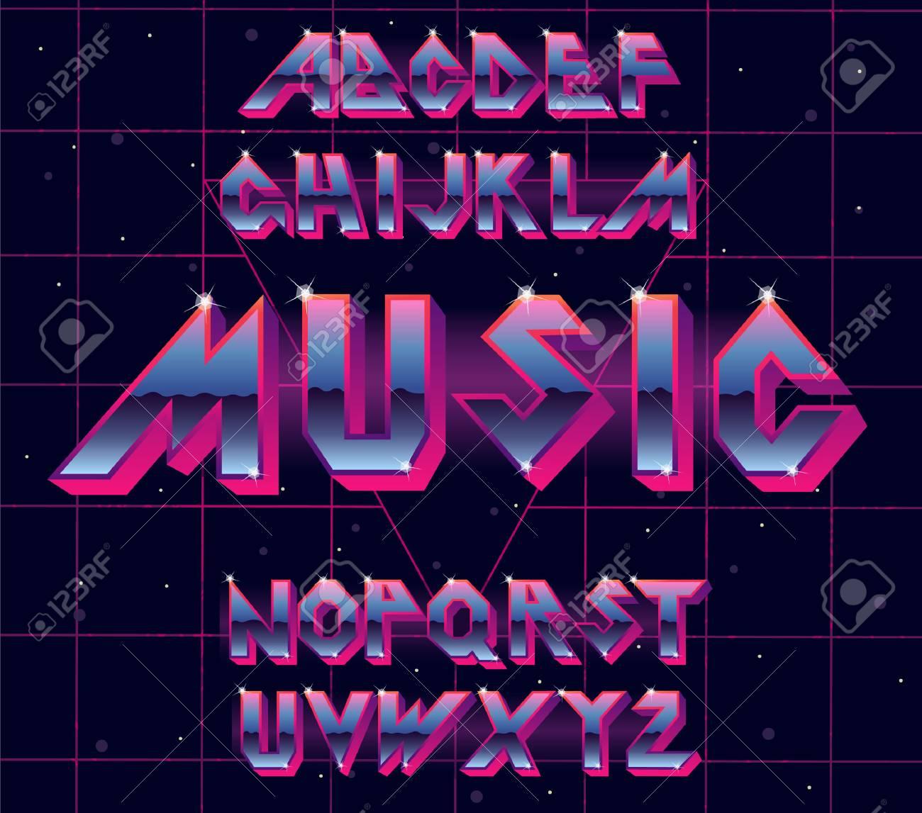 80 s retro alphabet font  Vector typography for flyers, headlines,