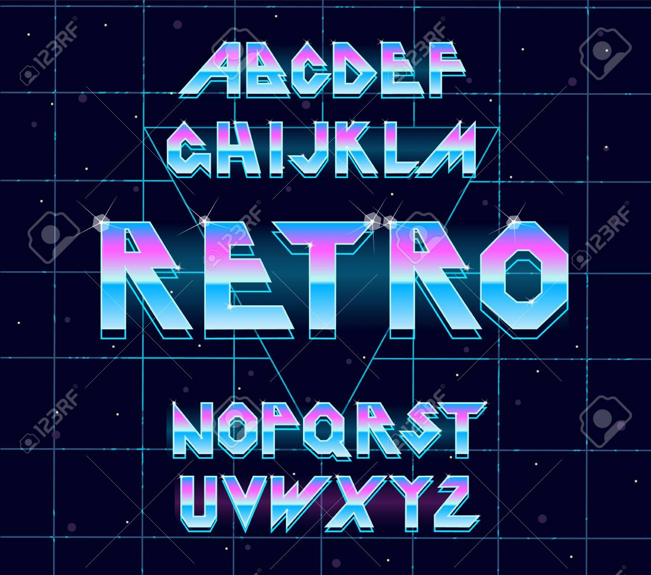 Alphabet 80 s retro font Vector typography for flyers, posters