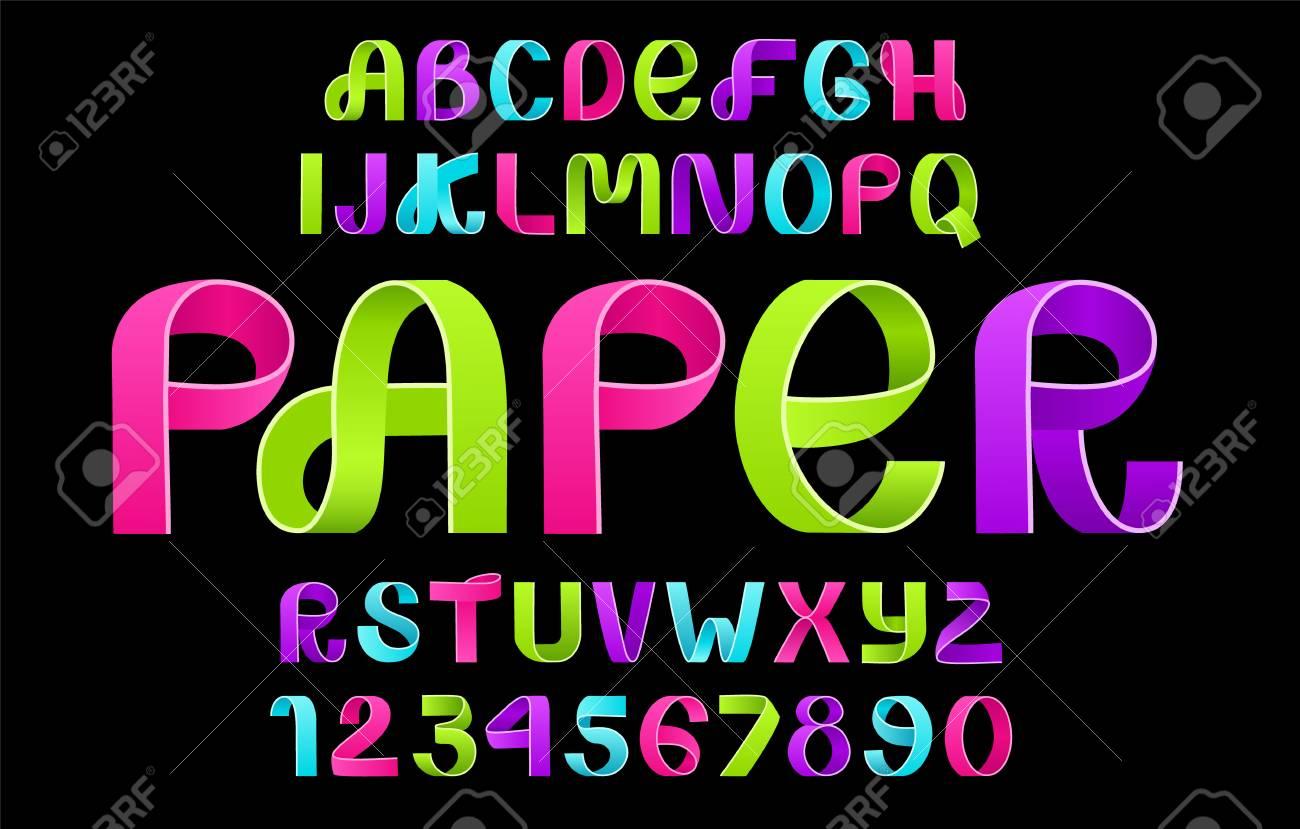neon alphabet vector of paper folding ribbon script font vector of modern stylized paper