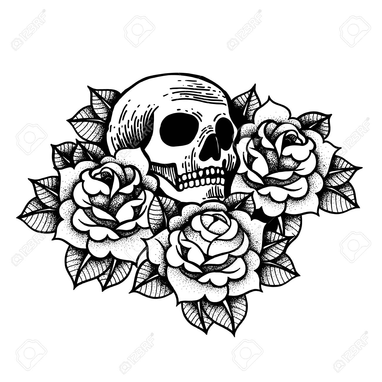 Rose Tattoo With Skull Traditional Black Dot Style Ink Roses Isolated Vector Illustration