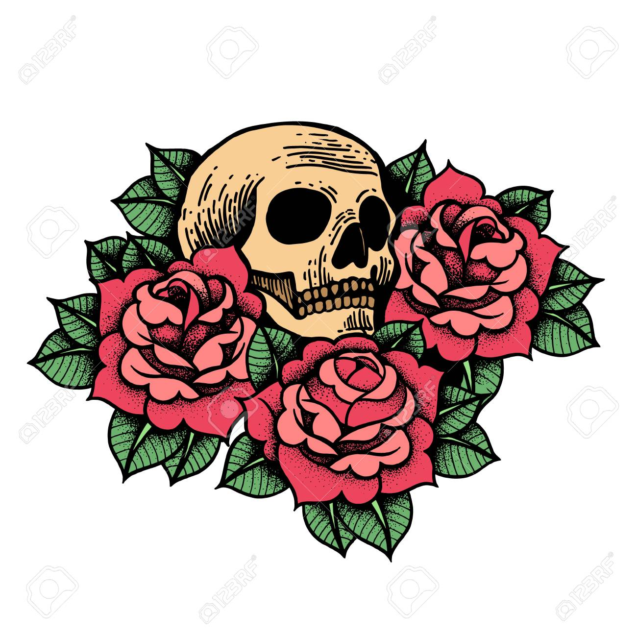 8a7af5732 Rose tattoo with skull. Traditional black dot style ink. Roses isolated  vector illustration.