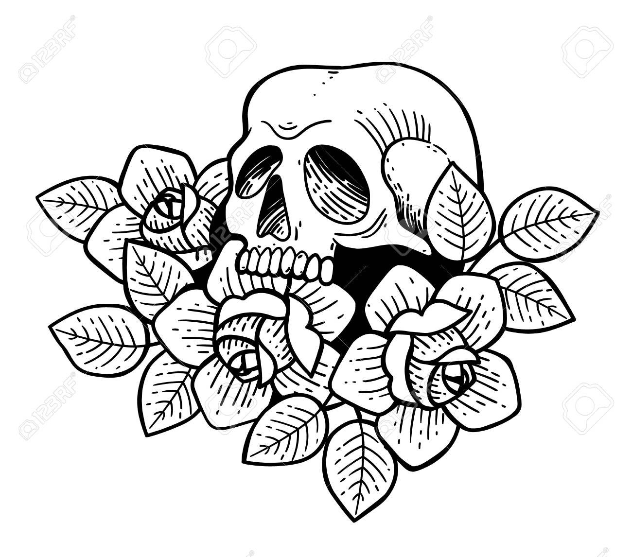 Photo Stock Vector Rose Tattoo With Skull Traditional Black Dot Style Ink Roses Isolated Illustration