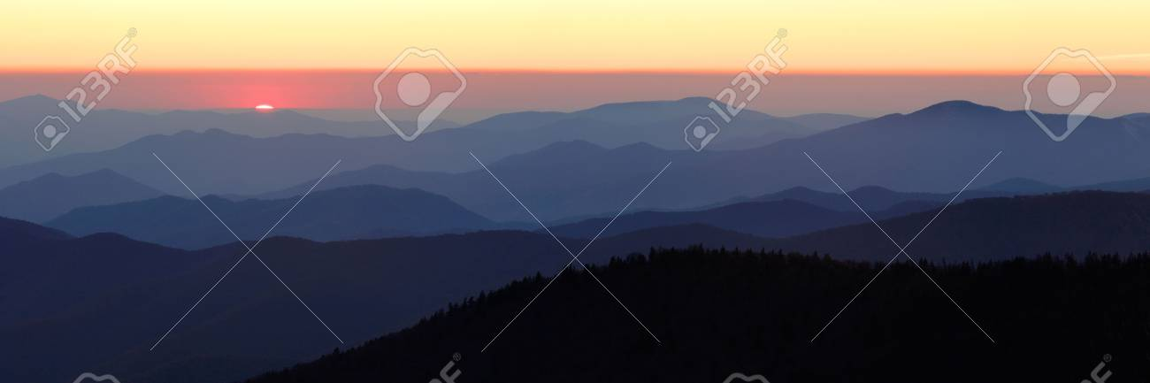 Sun Setting over Mountains Ridges - Smokey Mountains National Park. Stock Photo - 2300511