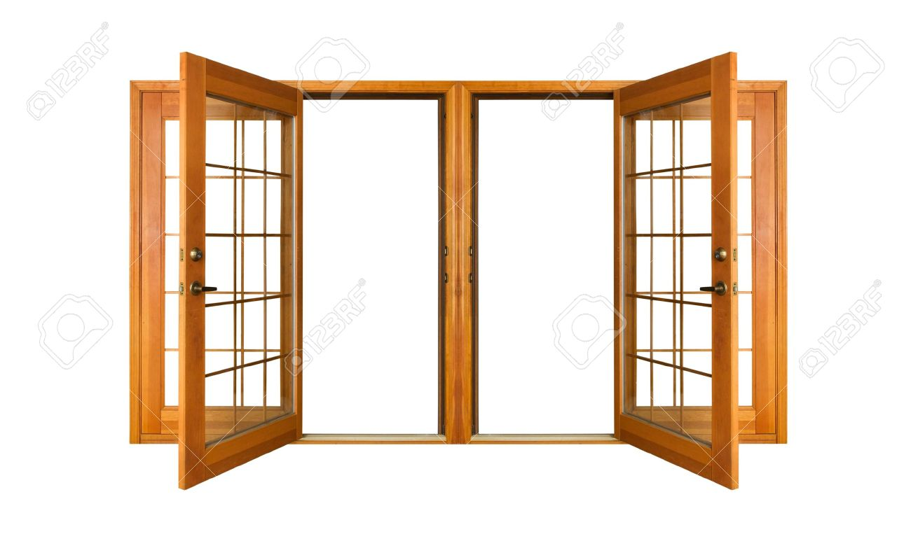 Open French doors isolated on white Stock Photo - 2369134