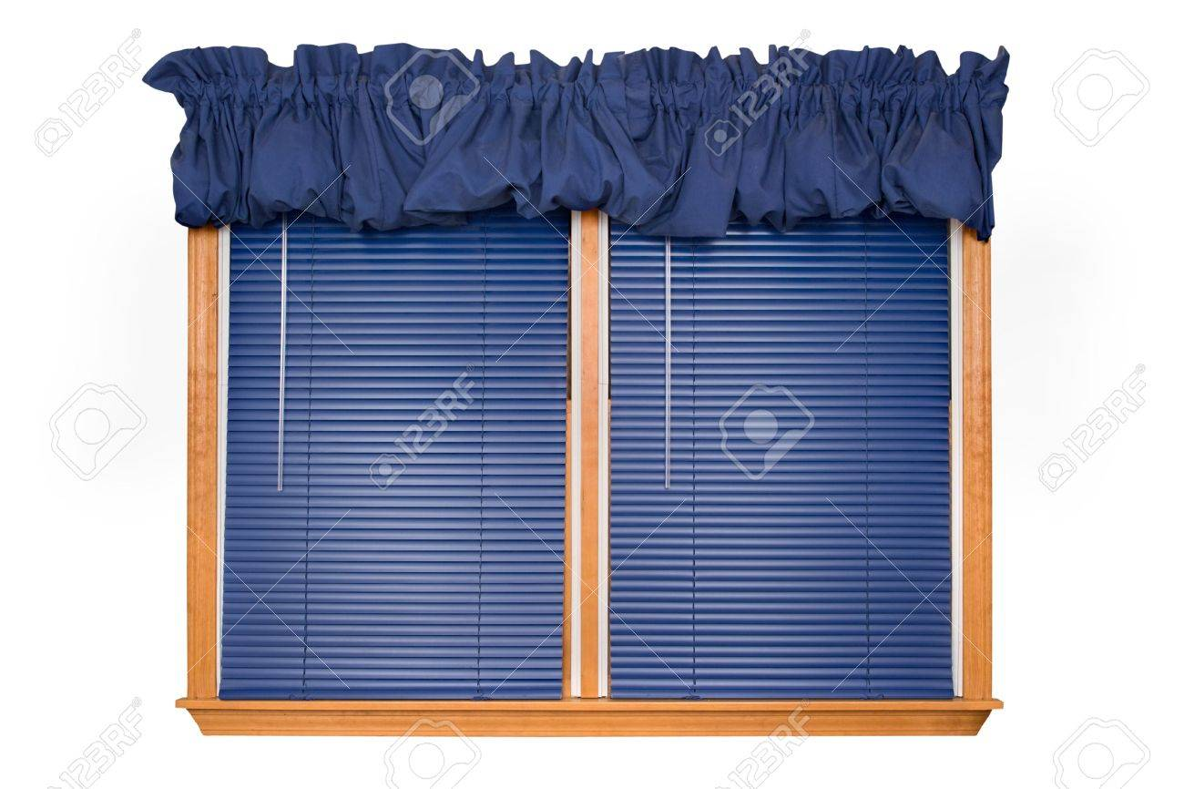 Isolated Double Window With Blinds Valance Stock Photo 2393144