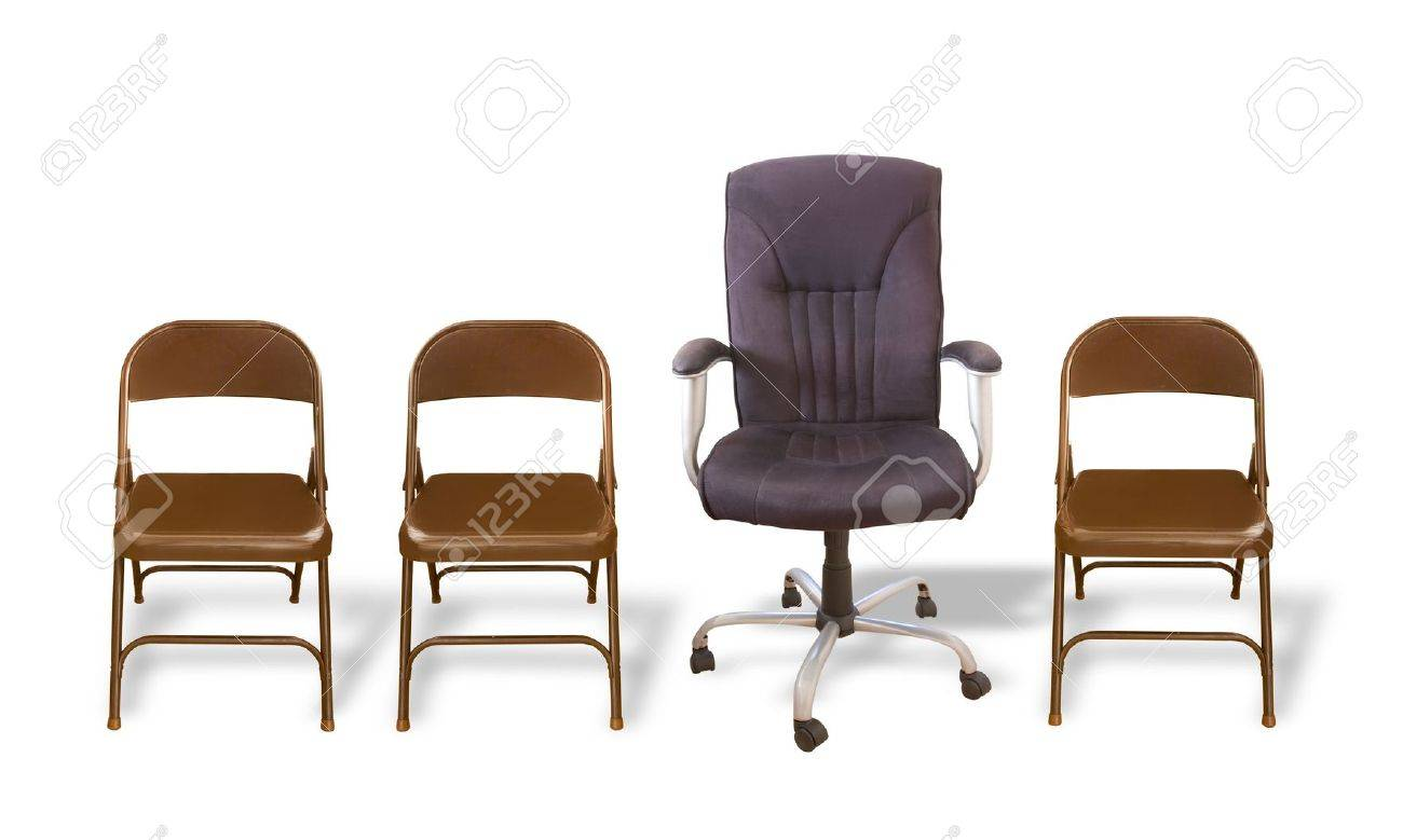 One Fancy Office Chair In A Row Of Folding Chairs Stock Photo ...