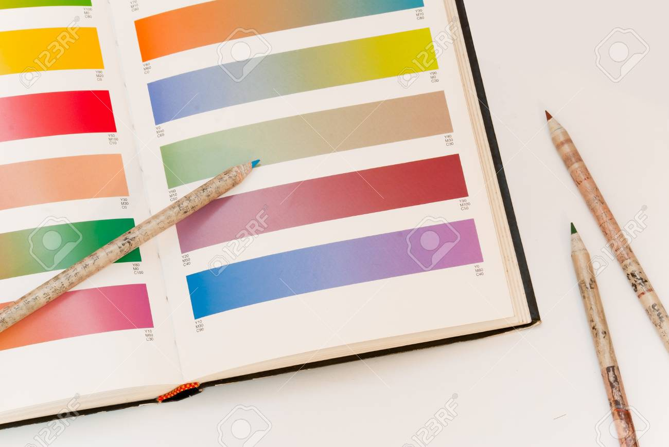 open Pantone sample colors catalogue Stock Photo - 12329707
