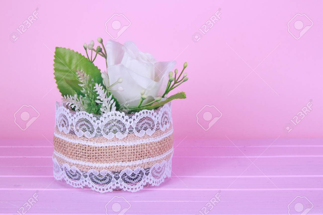 Small White Gyp Flower Bouquet In Silver Tin Can Vase With Burlap ...