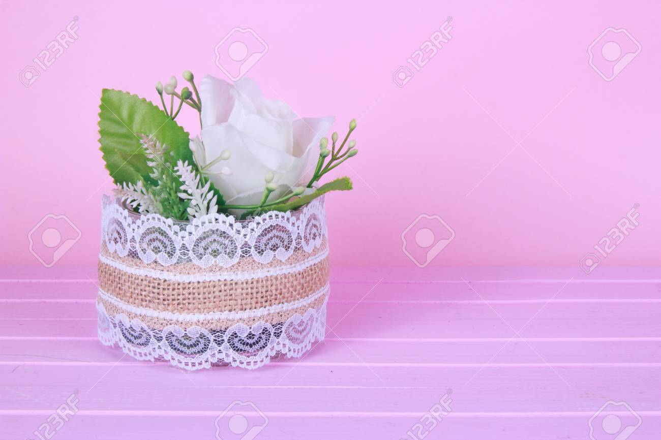 Small White Gyp Flower Bouquet In Silver Tin Can Vase With Burlap