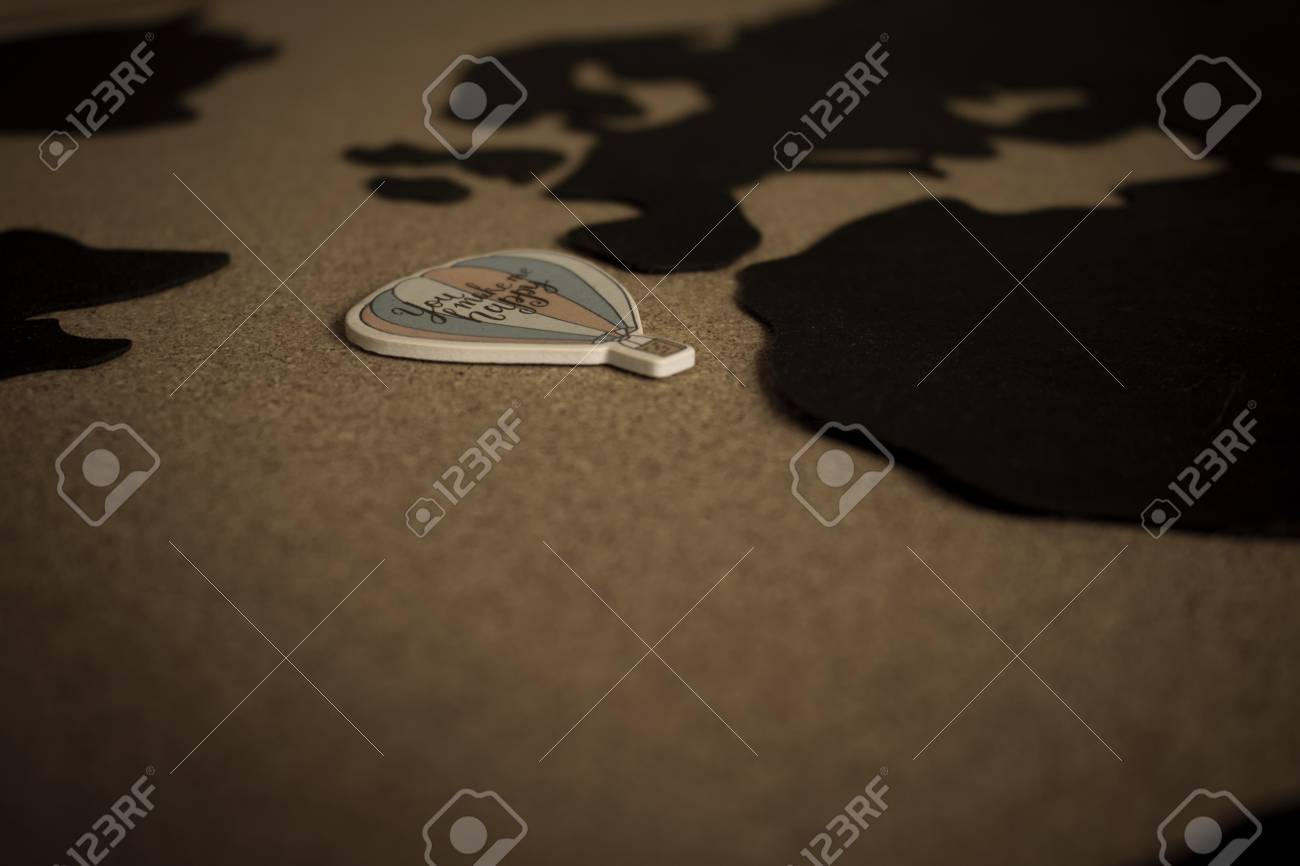 World Map Black World Map On A Brown Background Details Stock Photo