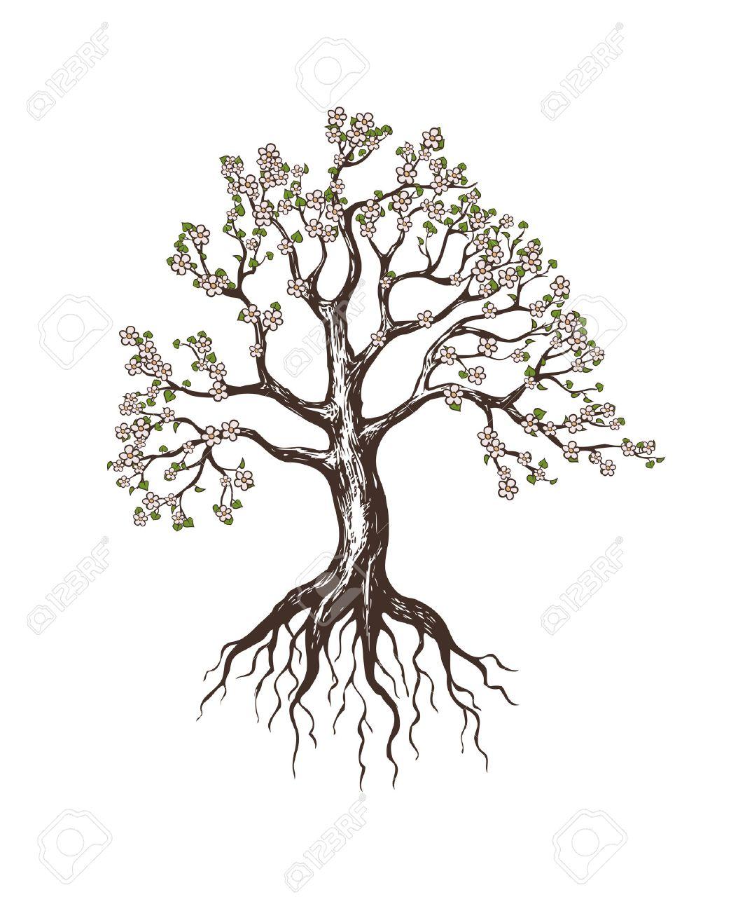 blooming tree (tree, root,