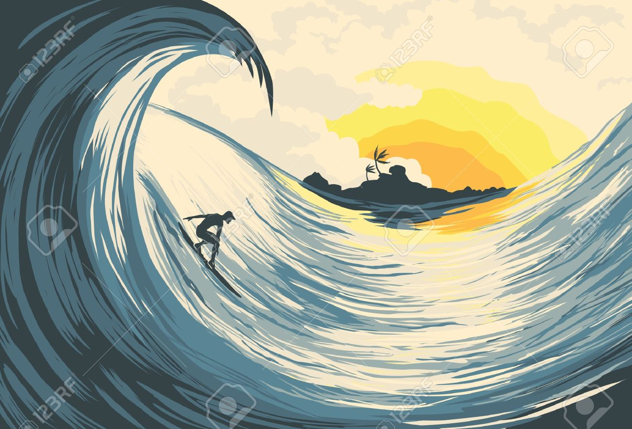 e0580c5365 Tropical Island Wave And Surfer At Sunset Royalty Free Cliparts ...