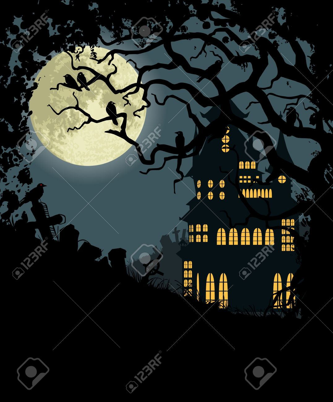 halloween background with haunted house tree crows and cemetery stock vector 10014010 - Halloween Crows