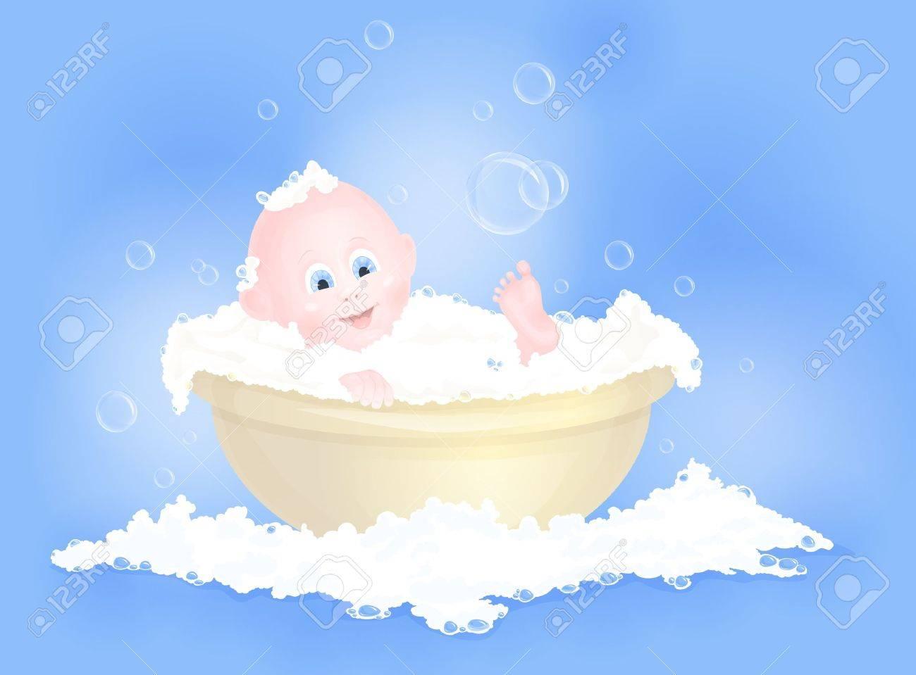 Cute Baby Boy Having Bath In Tub With Foam Royalty Free Cliparts ...