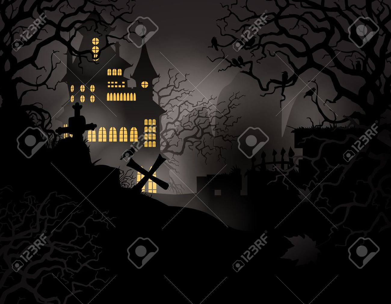 Halloween background with haunted house and graveyard Stock Vector - 10755189