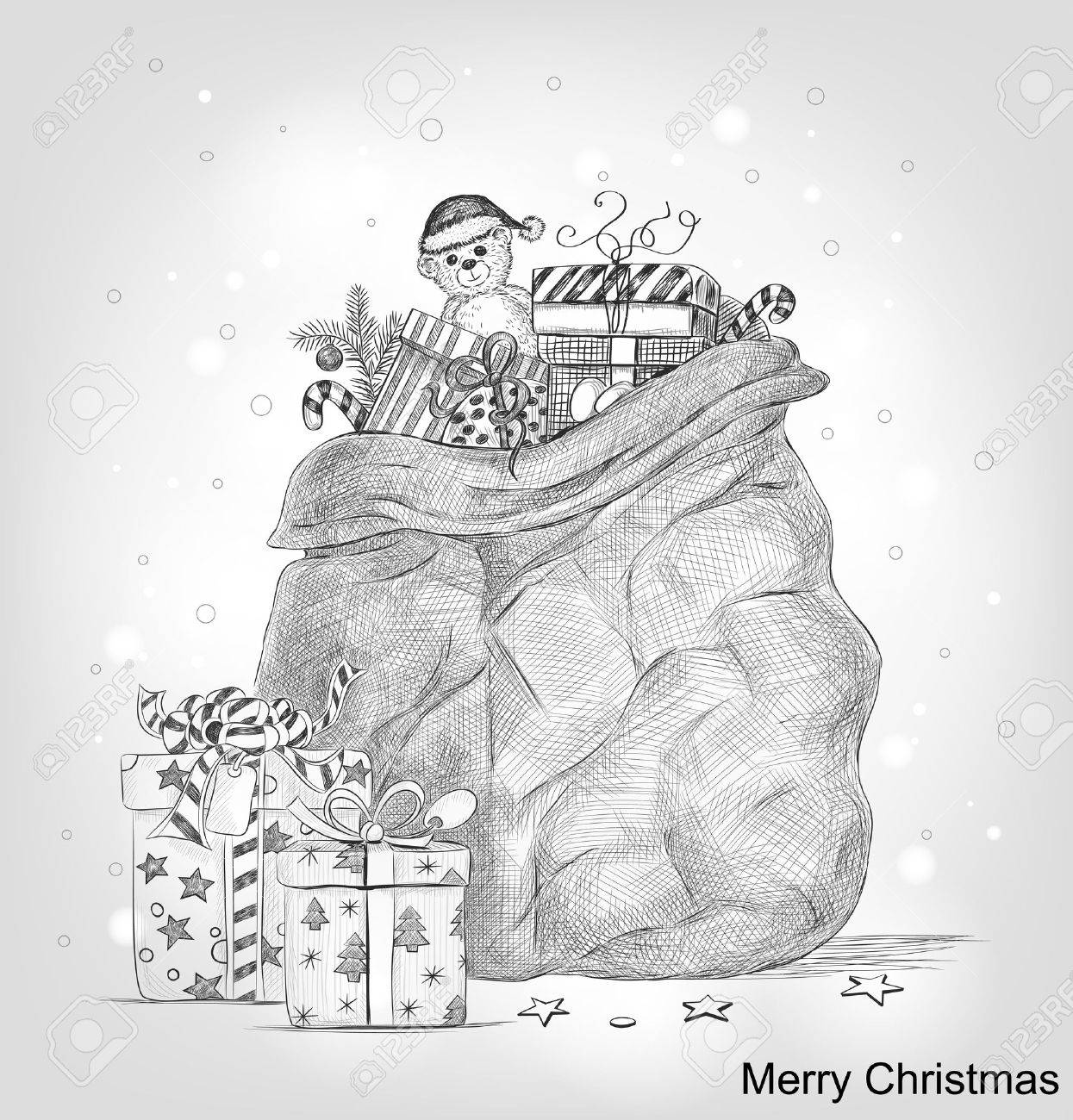 Hand drawn bag full of Christmas gifts Stock Vector - 11091076