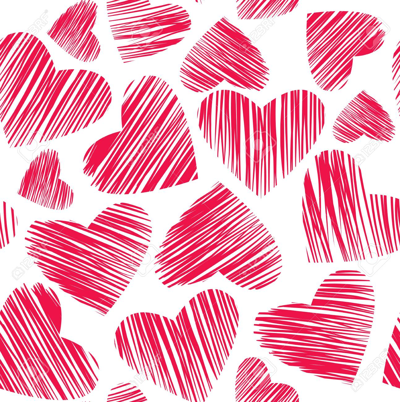 seamless pattern with red hearts Stock Vector - 11787241