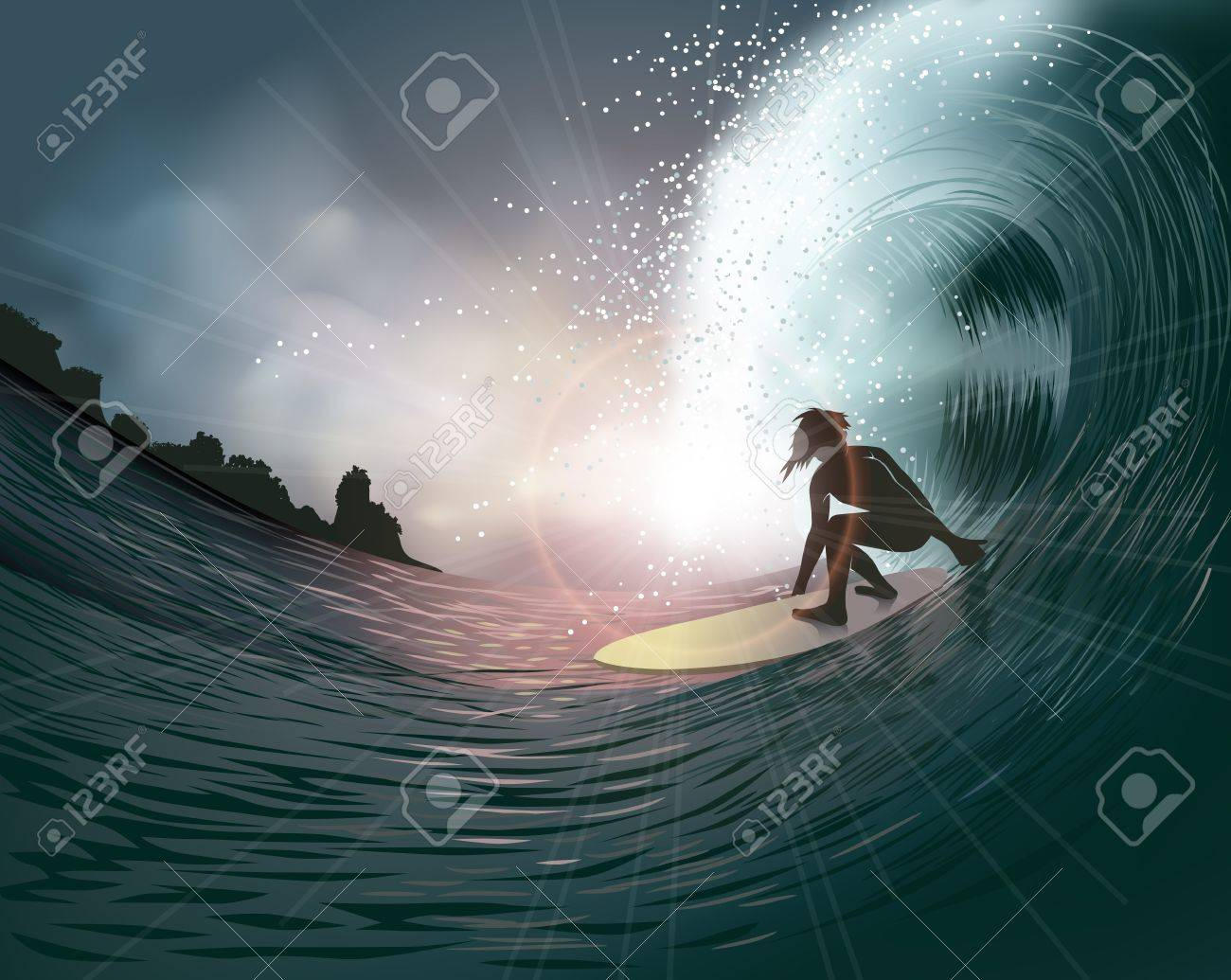 surfer and wave at sunset Stock Vector - 13191713