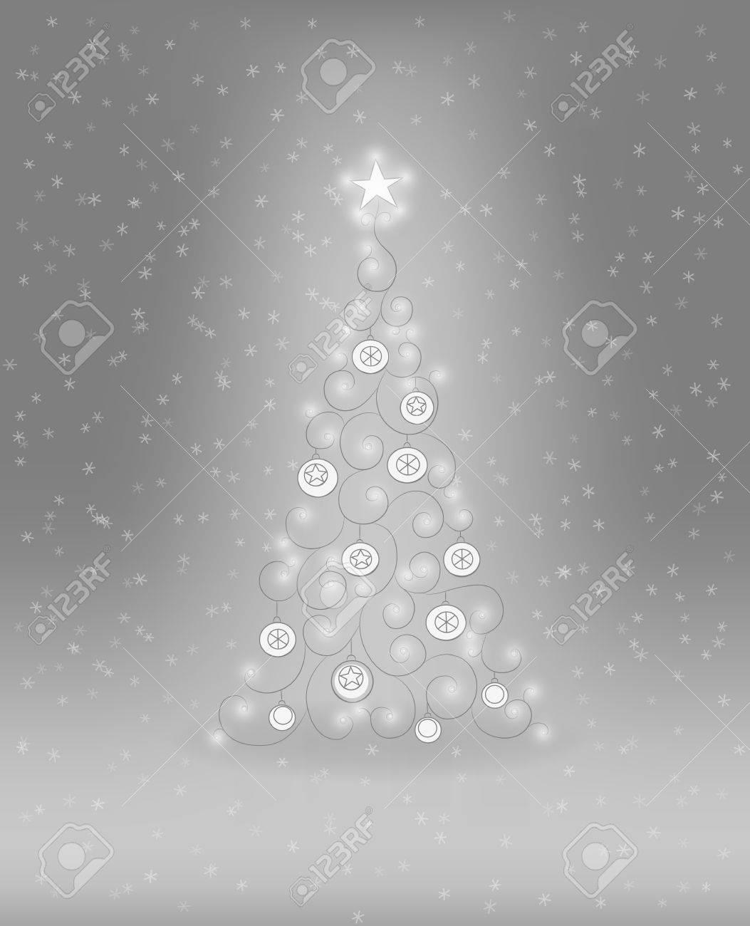 Decoratieve Kerstboom Met Kerstballen En Verlichting Royalty Vrije ...
